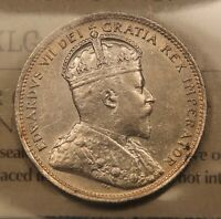 1903 CANADA SILVER 25 CENTS. EF 45 ICCS CERTIFIED. BV $450