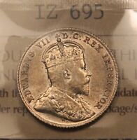 1909 CANADA SILVER 10 CENTS. AU55 ICCS VICTORIA LEAVES. BV $430