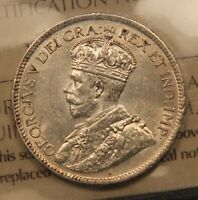 1918 CANADA SILVER 25 CENTS. AU 58 ICCS. NEARLY UNCIRCULATED.