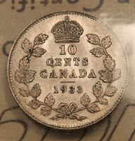 1933 CANADA SILVER 10 CENTS. ICCS AU 55 CHOICE ABOUT UNCIRCULATED.
