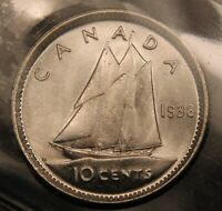 1938 CANADA SILVER 10 CENTS ICCS MS64. NEAR GEM UNCIRCULATED.