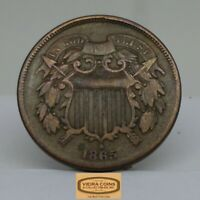 1865 TWO CENT PIECE 2 CENTS  FREE SHIPPING     B16352