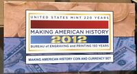 2012 MAKING AMERICAN HISTORY SILVER EAGLE COIN PROOF AND $5