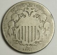 1876 SHIELD NICKEL.  CIRCULATED.  139604
