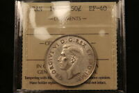 1938 CANADA SILVER 50 CENTS. ICCS EF 40. BETTER DATE. BV $50
