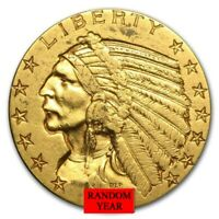 $5 INDIAN HEAD HALF EAGLE GOLD COIN VG OR BETTER   RANDOM YEAR