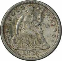 1850 LIBERTY SEATED SILVER HALF DIME, CHOICE AU, UNCERTIFIED