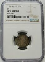1797 16 STARS DRAPED BUST SMALL EAGLE DIME NGC GRADED FINE DETAILS CLEANED  JR-1