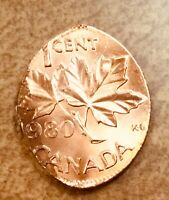1980 CANADA CENT STRUCK ON AN ELLIPTICAL PLANCHET  MINT ERROR    BRIGHT RED