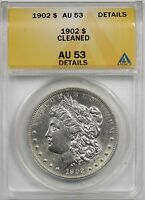 1902 $1 ANACS AU 53 DETAILS CLEANED MORGAN SILVER DOLLAR
