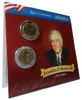 2014 P&D $1 FRANKLIN D ROOSEVELT PRESIDENTIAL 2 COIN SET UNCIRCULATED BIFOLD