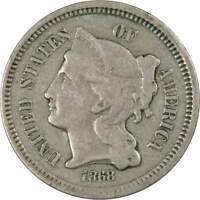 1868 THREE CENT PIECE F FINE NICKEL 3C US TYPE COIN COLLECTIBLE