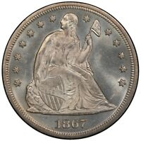 1867 $1 LIBERTY SEATED DOLLAR PCGS MINT STATE 65