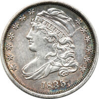 1835 CAPPED BUST DIME, AU CLEANED, 10C C00043758