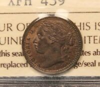 1866 GREAT BRITAIN 1/3 FARTHING MS62 ICCS UNCIRCULATED. KM 750. QUEEN VICTORIA.