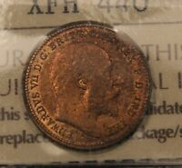 1902 GREAT BRITAIN 1/3 FARTHING MS63 ICCS CHOICE UNCIRCULATED KM 791. GEORGE V.