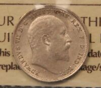 1909 GREAT BRITAIN SILVER 3 PENCE MS 63 ICCS CERTIFIED UNCIRCULATED THREEPENCE.