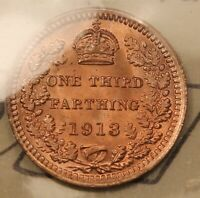 1913 GREAT BRITAIN 1/3 FARTHING MS65 RED ICCS KM823 BRIGHT BLAZING GEM.