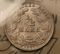 1906 J GERMANY SILVER HALF 1/2 MARK. MS 64 ICCS CERTIFIED BLAST WHITE BV $500 US