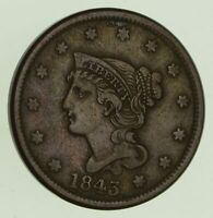 1843 BRAIDED HAIR LARGE CENT - SHARP 8768