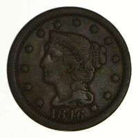 1846 BRAIDED HAIR LARGE CENT - N-14 - TALL DATE - CIRCULATED 7212