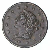 1839 YOUNG HEAD LARGE CENT - BOOBY HEAD - CIRCULATED 0341