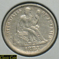 1883 SILVER SEATED LIBERTY DIME 10C EXTRA FINE  DETAILS 90 SILVER FULL LIBERTY