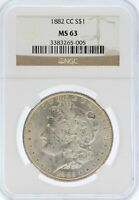 1882-CC MORGAN SILVER DOLLAR NGC MINT STATE 63 $1 COIN - JD054