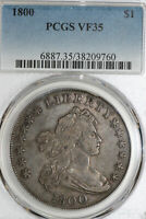 ONE 1800 DRAPED BUST SILVER DOLLAR THAT PCGS GRADED VF35 STOCK :38209760