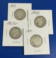 1903S 1906D 1907O & 1911S US BARBER SILVER QUARTERS SET OF 4