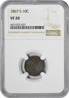 1867-S LIBERTY SEATED SILVER DIME, VF20, NGC