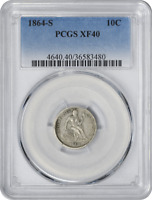 1864-S LIBERTY SEATED SILVER DIME, EF40, PCGS