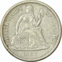 1863-S LIBERTY SEATED SILVER DIME, AU, UNCERTIFIED