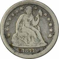 1841-O LIBERTY SEATED SILVER DIME, VF, UNCERTIFIED