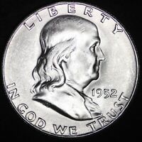 UNCIRCULATED NICE BELL LINES 1952 S FRANKLIN SILVER HALF DOL