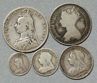 GREAT BRITAIN SILVER VICTORIA SET 1873 1898 W/ GOTHIC FLORIN