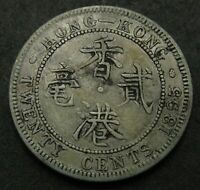 HONG KONG  BRITISH COLONY  20 CENTS 1895   SILVER   VICTORIA