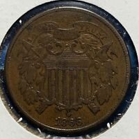 1866 2C TWO CENT PIECE 52052
