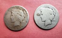1927 & 1934 PEACE SILVER DOLLARS   SET OF 2