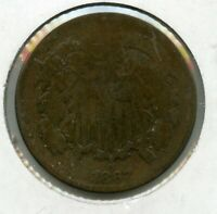 1867 TWO 2 CENT PIECE COPPER COIN JD390