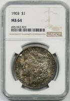 1903 $1 NGC MINT STATE 64 TONED MORGAN SILVER DOLLAR