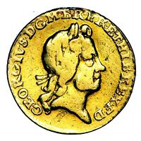 1718 KING GEORGE I GREAT BRITAIN GOLD QUARTER 1/4 GUINEA COIN