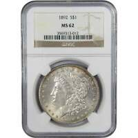1892 $1 MORGAN SILVER DOLLAR US COIN MINT STATE 62 NGC