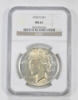 MINT STATE 61 1925-S PEACE SILVER DOLLAR - GRADED NGC 5740