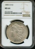 1885-O NGC MINT STATE 64  MINT STATE 64  UNITED STATES SILVER MORGAN DOLLAR COIN DA225