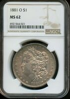 1881-O NGC MINT STATE 62  MINT STATE 62  UNITED STATES SILVER MORGAN DOLLAR COIN DA245
