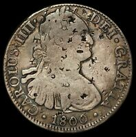 1800 MO FM MEXICO 8 REALES SILVER COIN   KM 109   CHOPMARKS