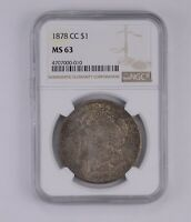 MINT STATE 63 1878-CC MORGAN SILVER DOLLAR - GRADED BY NGC 7813