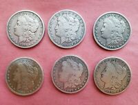 1878-1897  MORGAN SILVER DOLLARS - SET OF 6