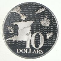 SILVER   HUGE   1975 TRINIDAD & TOBAGO 10 DOLLARS   WORLD SI
